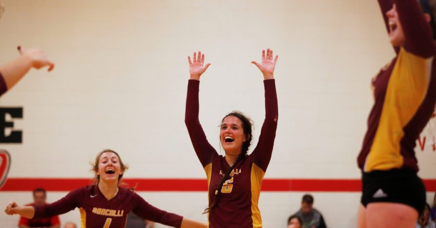 Roncalli Catholic's, Alex Mausbach (1) left, and Kelsey Rankin (6), right, celebrate a play during the Duchesne Academy vs. Omaha Roncalli Catholic volleyball subdistrict B-2 game on Tuesday, November 1, 2016 at Duchesne Academy in Omaha. SARAH HOFFMAN/THE WORLD-HERALD